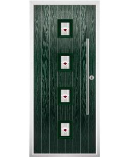 The Leicester Composite Door in Green with Red Murano