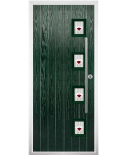 The Norwich Composite Door in Green with Red Murano