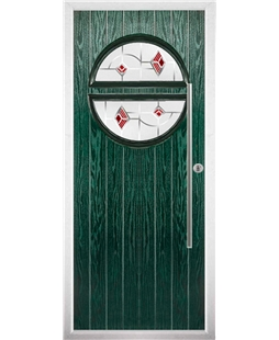 The Xenia Composite Door in Green with Red Murano
