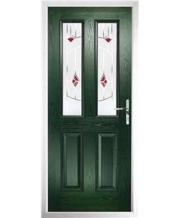 The Cardiff Composite Door in Green with Red Murano