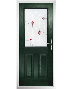 The Farnborough Composite Door in Green with Red Murano