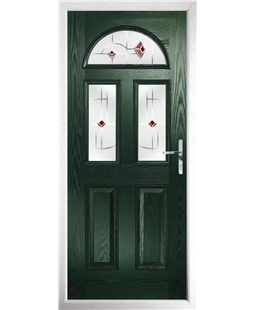 The Glasgow Composite Door in Green with Red Murano