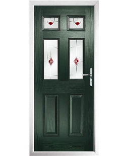 The Oxford Composite Door in Green with Red Murano