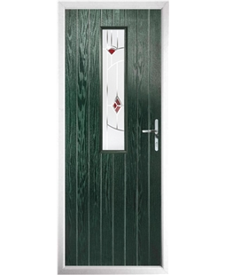 The Sheffield Composite Door in Green with Red Murano