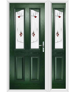 The Birmingham Composite Door in Green with Red Murano and matching Side Panel