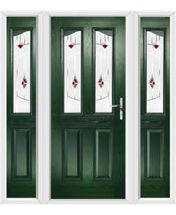 The Birmingham Composite Door in Green with Red Murano and matching Side Panels