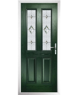 The Cardiff Composite Door in Green with Crystal Diamond