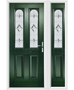 The Aberdeen Composite Door in Green with Crystal Diamond and matching Side Panel