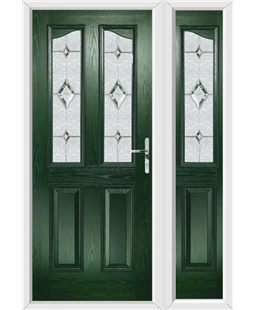 The Birmingham Composite Door in Green with Crystal Diamond and matching Side Panel
