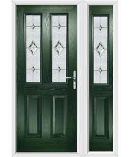 The Cardiff Composite Door in Green with Crystal Diamond and matching Side Panel