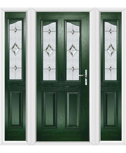The Birmingham Composite Door in Green with Crystal Diamond and matching Side Panels