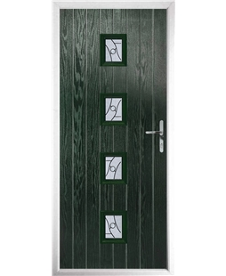 The Uttoxeter Composite Door in Green with Zinc Art Abstract