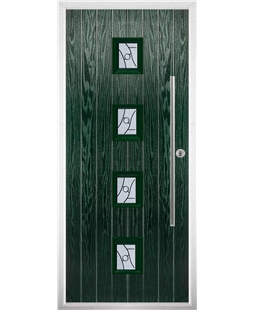 The Leicester Composite Door in Green with Zinc Art Abstract