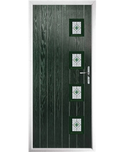 The Preston Composite Door in Green with Green Daventry