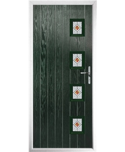 The Preston Composite Door in Green with Red Daventry