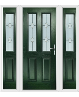 The Cardiff Composite Door in Green with Classic Glazing and matching Side Panels