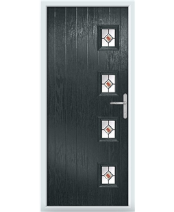 The Preston Composite Door in Grey (Anthracite) with Red Fusion Ellipse