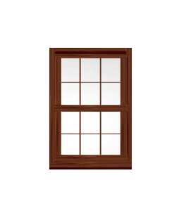 Lancashire uPVC Sliding Sash Window in Rosewood