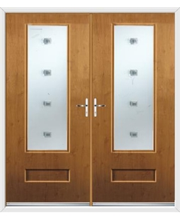 Vogue French Rockdoor in Irish Oak with Abyss Glazing