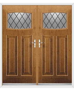 Newark French Rockdoor in Irish Oak with Diamond Lead