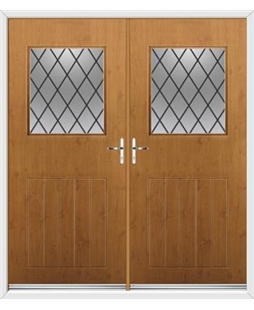 Cottage View Light French Rockdoor in Irish Oak with Diamond Lead