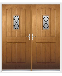 English Cottage French Rockdoor in Irish Oak with Diamond Lead