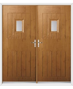 Cottage Spy View French Rockdoor in Irish Oak with Glazing