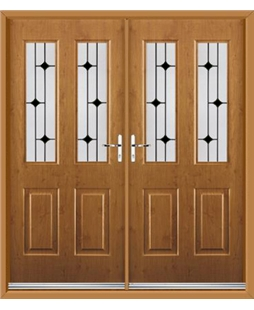 Jacobean French Rockdoor in Irish Oak with Black Diamonds