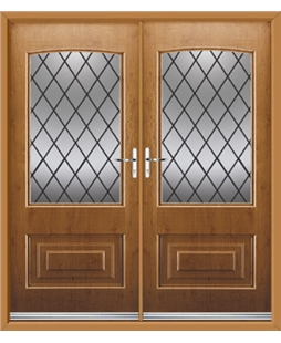 Portland French Rockdoor in Irish Oak with Diamond Lead