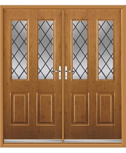 Jacobean French Rockdoor in Irish Oak with Diamond Lead
