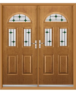Tennessee French Rockdoor in Irish Oak with Green Diamonds