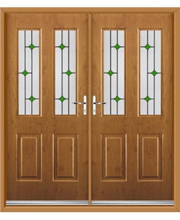 Jacobean French Rockdoor in Irish Oak with Green Diamonds