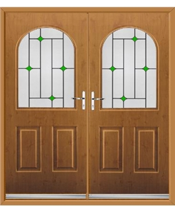 Kentucky French Rockdoor in Irish Oak with Green Diamonds