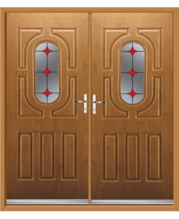 Arcacia French Rockdoor in Irish Oak with Red Diamonds