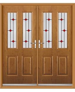 Jacobean French Rockdoor in Irish Oak with Red Diamonds