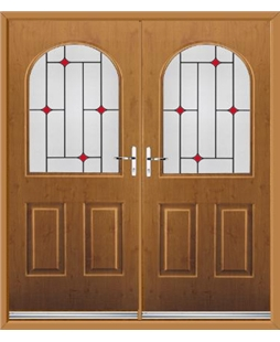 Kentucky French Rockdoor in Irish Oak with Red Diamonds