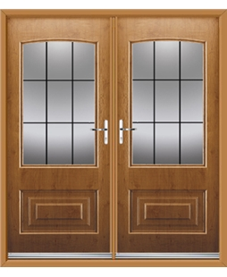 Portland French Rockdoor in Irish Oak with Square Lead