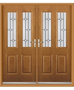 Jacobean French Rockdoor in Irish Oak with White Diamonds