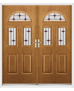 Tennessee French Rockdoor in Irish Oak with Red Diamonds