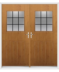 Cottage View Light French Rockdoor in Irish Oak with Square Lead