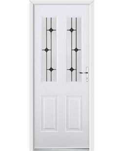 Ultimate Jacobean Rockdoor in White with Black Diamonds