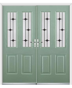 Jacobean French Rockdoor in Chartwell Green with Black Diamonds
