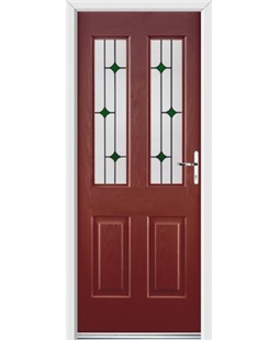 Ultimate Jacobean Rockdoor in Ruby Red with Green Diamonds