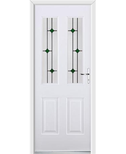 Ultimate Jacobean Rockdoor in White with Green Diamonds