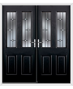 Jacobean French Rockdoor in Onyx Black with Crystal Bevel