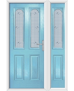 The Aberdeen Composite Door in Blue (Duck Egg) with Jewel Glazing and Matching Side Panel