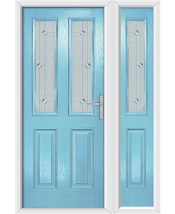 The Cardiff Composite Door in Blue (Duck Egg) with Jewel Glazing and Matching Side Panel