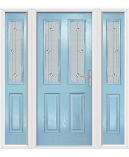 The Cardiff Composite Door in Blue (Duck Egg) with Jewel Glazing and matching Side Panels
