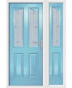 The Birmingham Composite Door in Blue (Duck Egg) with Jewel Glazing and Matching Side Panel