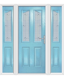The Birmingham Composite Door in Blue (Duck Egg) with Jewel Glazing and matching Side Panels